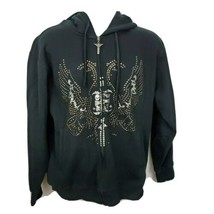 Avirex Full Zip Studded Hoodie Jacket Mens Size S Black - $49.49