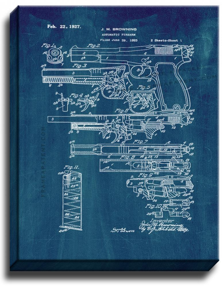 Primary image for FN and Browning Hi-Power Pistol Patent Print Midnight Blue on Canvas
