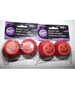 "Wilton 100 Ct Mini Baking Cups Jack-O-Lantern 2 Pkgs Orange Black 1.25"" ... - $5.75"