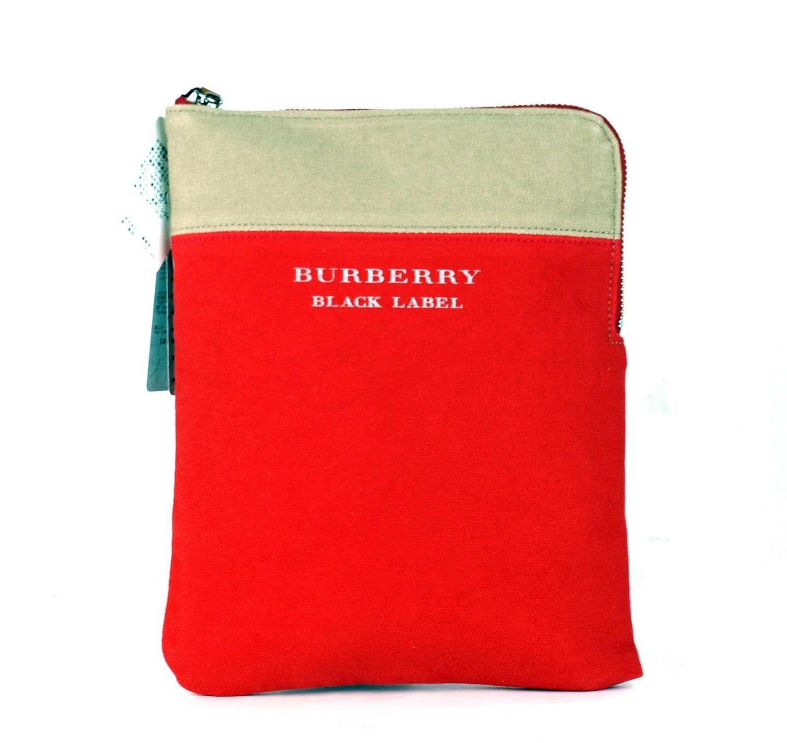 Auth Burberry London Black Label Red Cotton Canvas Clutch Hand Pouch Bag Unused - $127.71