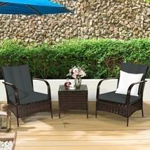 3 PCS Patio Rattan Furniture Set-Gray - Color: Gray - £254.14 GBP
