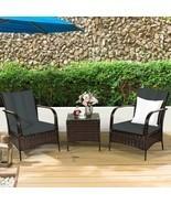 3 PCS Patio Rattan Furniture Set-Gray - Color: Gray - £271.88 GBP