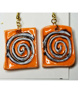 Original Luanne Simpson Hand Made Ceramic Art Earrings Purple Spiral Fas... - $14.24