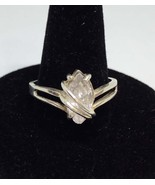 Ring Sterling Silver Size 8 3/4 .925 Band Cubic Zirconia Single Stone on Band - $14.10