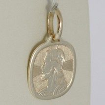 Pendant Yellow Gold Medal 375 9k, Face Christ, Square, Made in Italy image 2