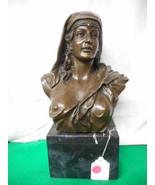 "J B Coyvaux Bronze Lady Bust European Bronze Finery Early Bronze 14"" Tall - $589.05"