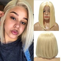 Brazilian Straight Short Bob Lace Front Wigs Melting Blonde 613 Colored ... - $84.07