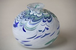 Art Glass Vase Blue Green White Swirl Pattern Unsigned Smooth Bottom 3.2... - $24.00