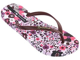 Ipanema Pop Women's Flip Flops, Lilac/Burgundy 9 US - $26.45