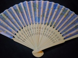 Beautiful Silk Fan with Flowers and Stars Handheld Fan Folding Fans Asia... - $7.99