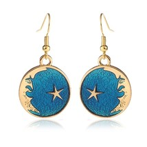 1 Pair Star Moon Planet Dangle Drop Earrings Fashion Alloy Hook Earring ... - $25.99