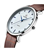 Super slim Quartz Casual Wristwatch Business Brown Genuine Leather Anal... - $58.90