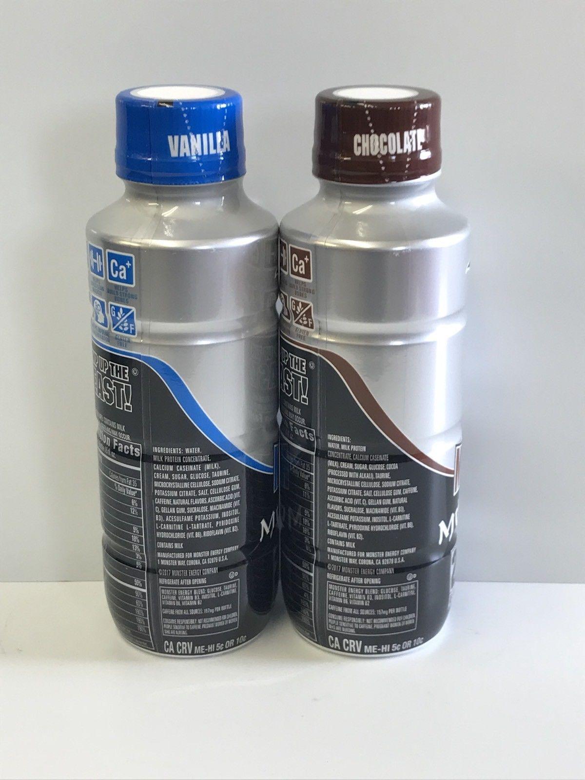 Monster Muscle Energy Shake 15oz Bottles.One Each Chocolate & Vanilla Bottle Lot