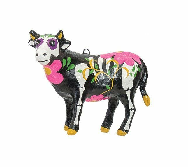 Primary image for GALLERIE II BARNYARD DAY OF THE DEAD COW HALLOWEEN CHRISTMAS ORNAMENT