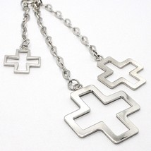 Silver necklace 925 Chain Veneta, Three Crosses Pendants, shiny and Satin image 2