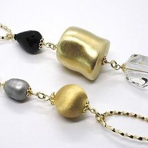 Silver necklace 925, Yellow, ONYX, GRAY PEARLS, Oval Braided, 95 cm image 3
