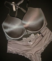 Nwt Victoria's Secret 34ddd Racerback Bh Set M Schlüpfer Grau Silber Taupe - $59.05