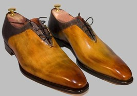 Handmade Men's Two Tone Lace up Dress Shoes, Best Hand Finished Leather Shoes - $159.99 - $179.99