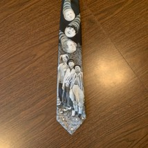 Men's Neck Tie Black Gray Ralph marlin Golfing Stooges AS IS 1995 3 Stooges - $9.74