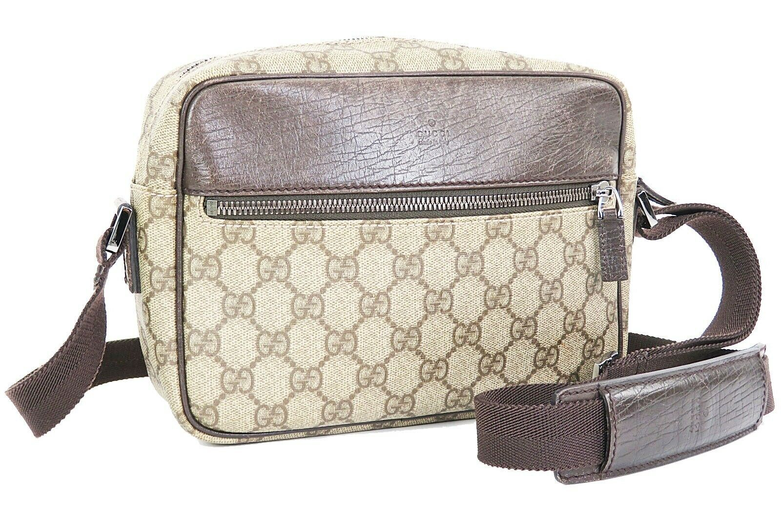Authentic GUCCI Brown GG PVC Canvas and Leather Shoulder Bag Purse #32995