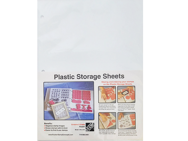 Rubber Stamp Concepts Plastic Storage Sheets for Storing Stamps, 3 Pack #PPS01