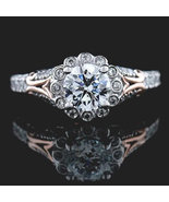 Solitaire full Halo Bazel Two tone Silver Ring - CZ Ring -Engagement Ring - $86.00
