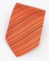 HERMES Men's Tie Necktie Silk Orange Striped Pattern - $200.00