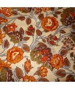 Vtg Riverdale Flowers Vat Color Screen Print Fabric Triple Shield Protec... - $19.99