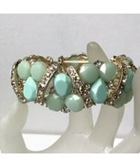 Vintage Pale Green Faceted Cabochon And Crystals Gold Hardware Stretch B... - $18.81