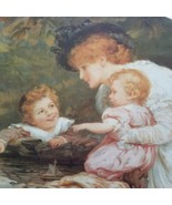 Cute Curly Redhead Baby Playing Vintage Large Victorian Style 1920's Litho - $70.20