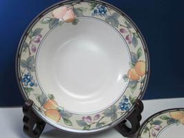 "4 Garden Harvest Mikasa Rimmed Soup Bowls  Intaglio CAC29 Fruit 9 3/4"" - $19.39"