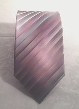Van Heusen Silk Neck Tie Shades of Purple Diagonal Striped Print - $8.38