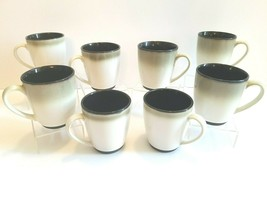 (8) Sango Nova Black 4932 Ceramic Coffee Mugs Dinner Ware Tea Cup Replac... - $36.60
