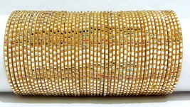 Indian Bollywood Golden Colored 48 Pcs Fashion Bangles Set Size 2.4 2.6 ... - $15.99