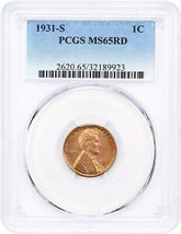 1931-S 1c PCGS MS65 RD - Popular Key Date - Lincoln Cent - Popular Key Date - $572.30