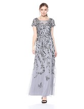Adrianna Papell Short Sleeve Beaded Gown with Vine Motif, Silver/Grey, 4 - $217.79