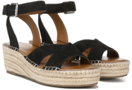 Franco Sarto Pellia Sz US 9 M EU 39 Women's Suede Espadrille Wedge Sandals Black - $39.55