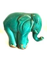 Elephant Vintage Ceramic Figurine Teal Blue Green Crazed Finish 5.25 inches - $44.55