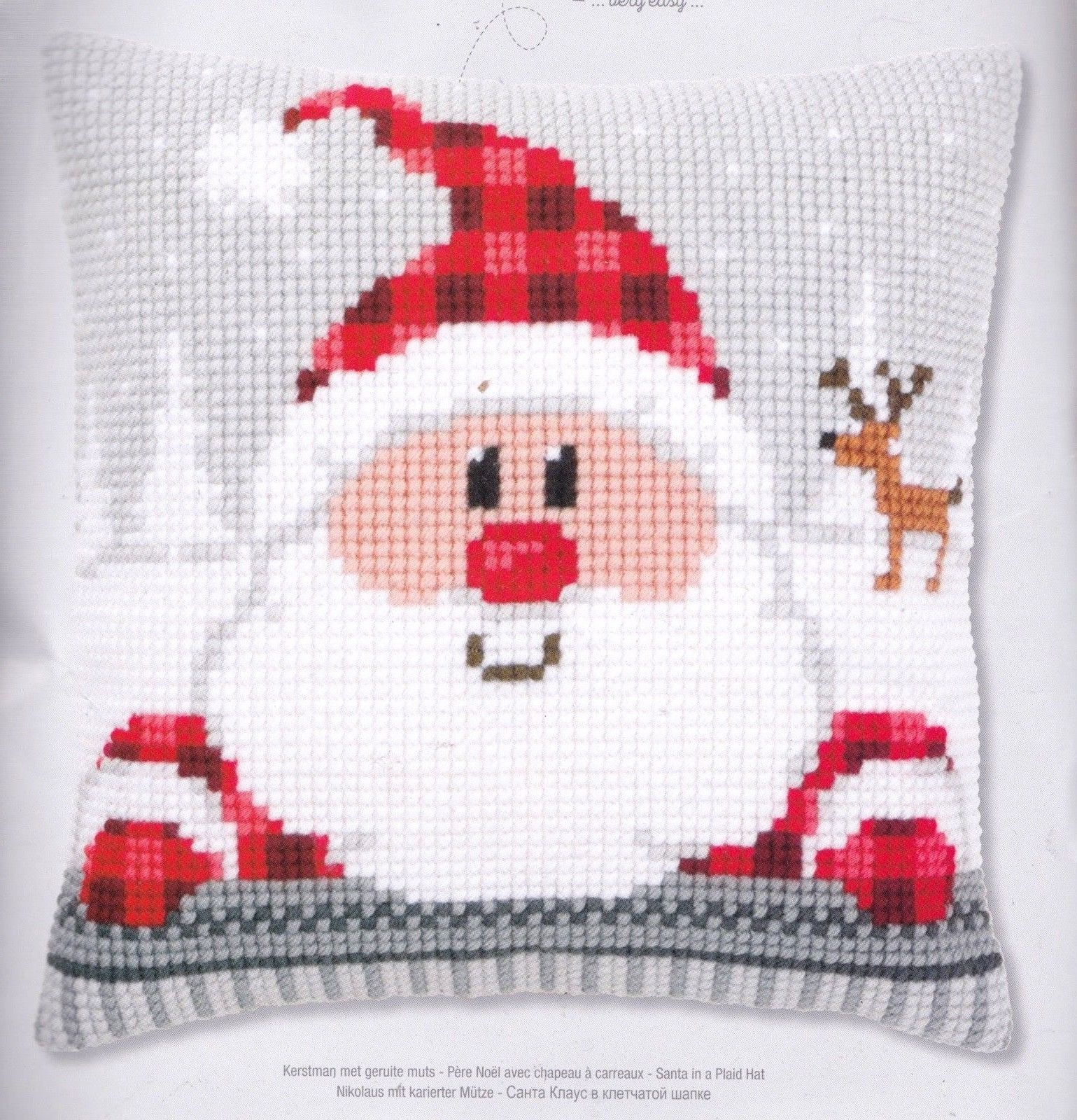 "Vervaco Holiday Santa Plaid Hat Yarn Cross Stitch Needlepoint 16"" Pillow Top Kit - $52.95"