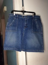 Gap Denim J EAN 100% Cotton Spring Summer Mini Skirt With Pockets Zipper Sz 16 - $15.76