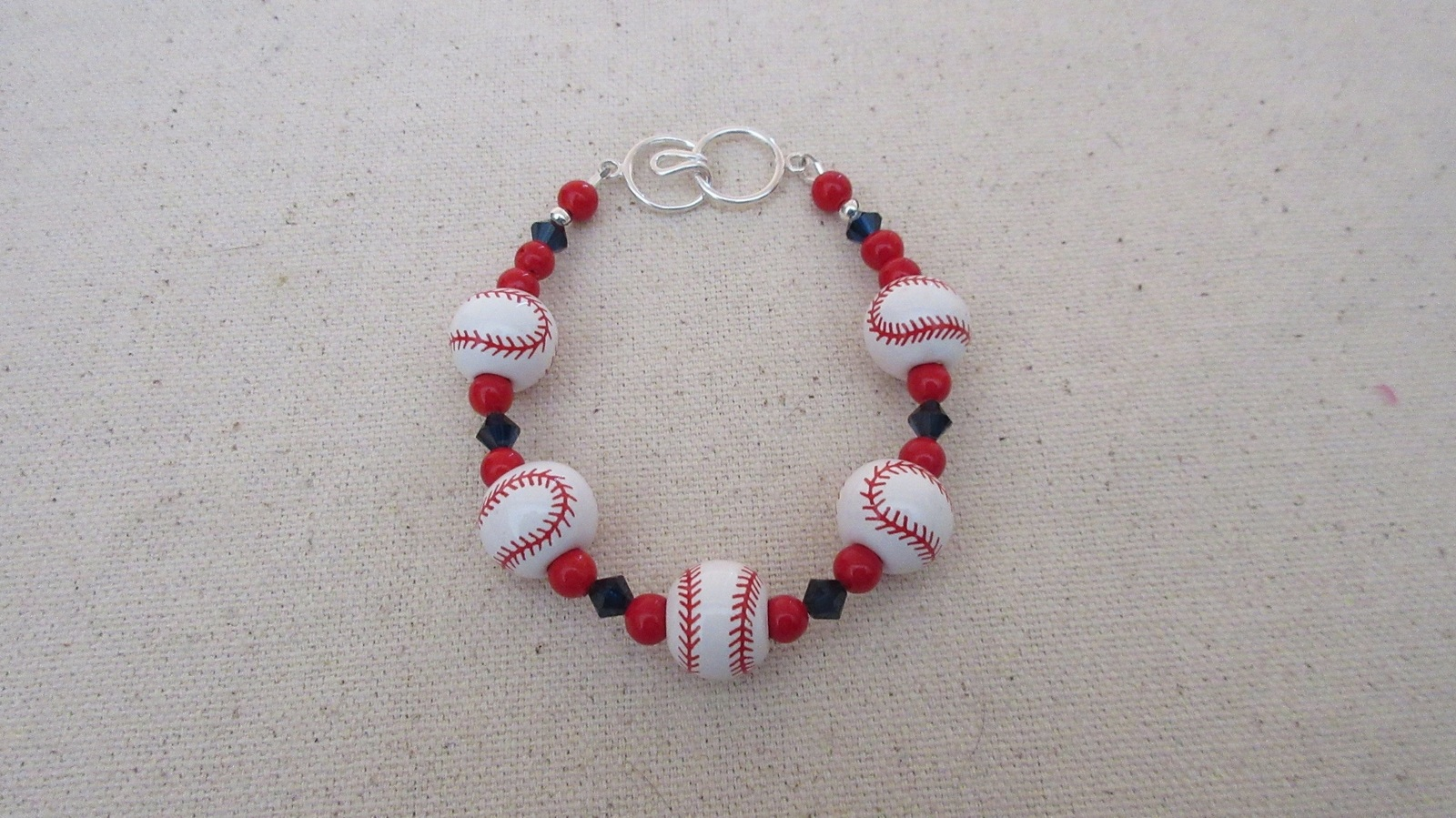 Boston Red Sox or Cleveland Indians Inspired Bracelets Ceramic Sterling Silver
