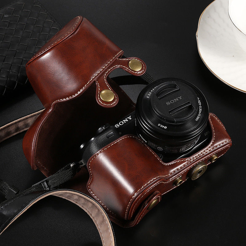 Blackbrowncoffee PU Leather Camera Case Bag Cover Sony A6500 A6300 A6000 A5100