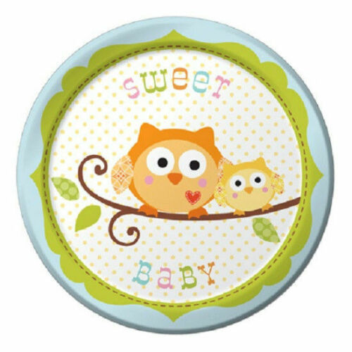 Happi Tree Baby Shower Sweet Baby Owl Paper 8 Ct Plates Lunch 9""