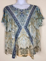 Avenue Womens Plus Size 26/28 Blue Paisley Pattern Blouse Short Sleeve - $19.80