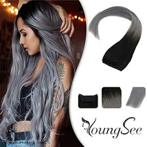 YoungSee 12inch Hidden Crown Halo Remy Human Hair Extensions Ombre Natural Black image 1