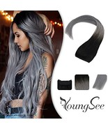 YoungSee 12inch Hidden Crown Halo Remy Human Hair Extensions Ombre Natural Black - $43.08