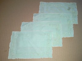4 Pale Green Linen Luncheon Napkins Scalloped Stitched Vintage Table Linens - $8.99
