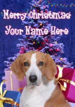 Fox Hound Dog Merry Christmas Personalised Greeting Card Xmas codeXM139 - $4.42