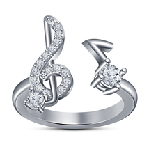 New Jewelry Women's Musical Note/Treble Clef Ring Solid 925 Silver 14k W... - $65.99
