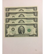 4 Uncirculated 2003  $2.00 Two Dollar Bills Sequential Serials numbers, ... - $19.95